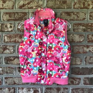 Baby Gap Pink Floral Quilted Snap Front Vest Sz M8